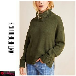 ANTHROPOLOGIE Blair Army Green Turtleneck Sweater